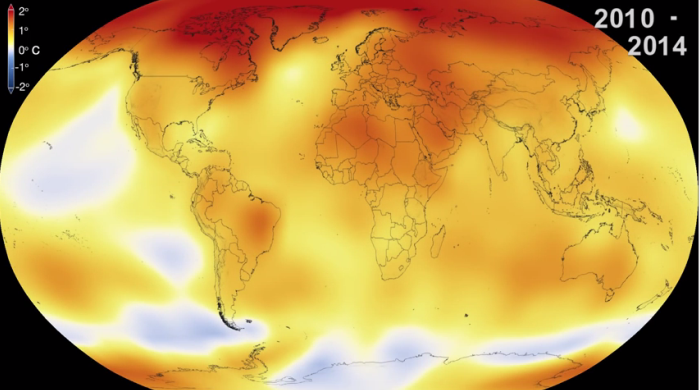 NASA global temperature 2014