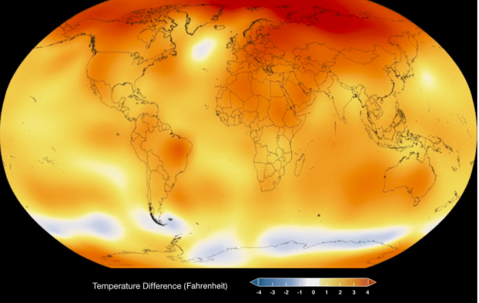 NASA global temperature 2015
