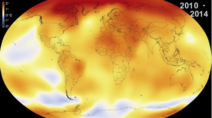 NASA global temperature 2014