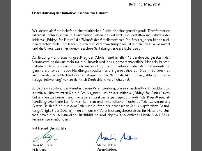 Unterstützung für FridaysForFuture: BVNG schickt Briefe an die 16 Kultusminister*innen der Länder und verweist auf  Schulgesetze und Bildungsaufträge