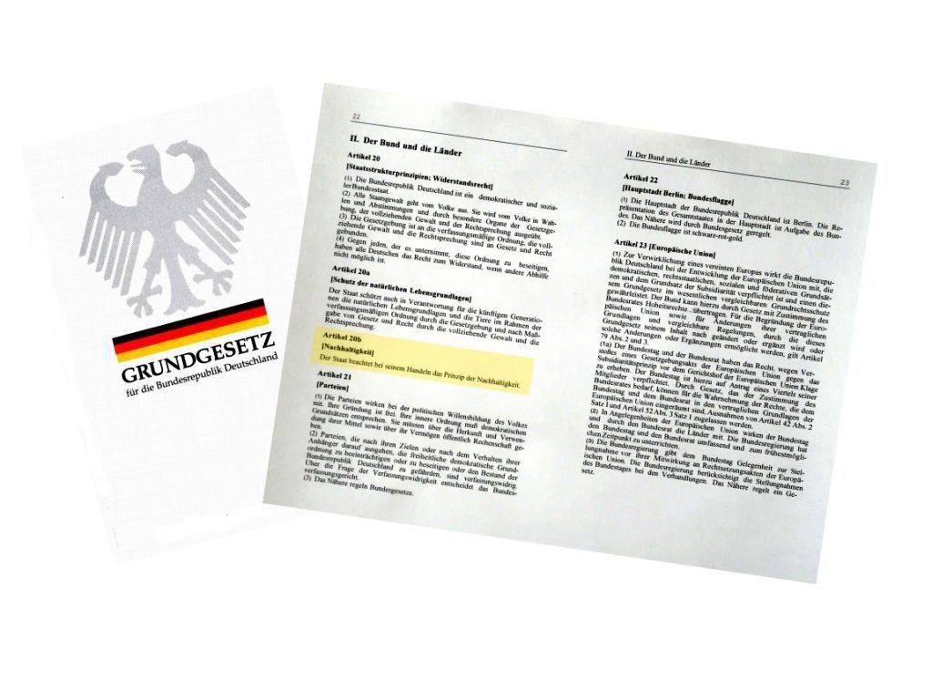 2019: 70 Jahre Deutsches Grundgesetz – Zeit, dass Nachhaltigkeit ein grundlegender Teil davon wird.